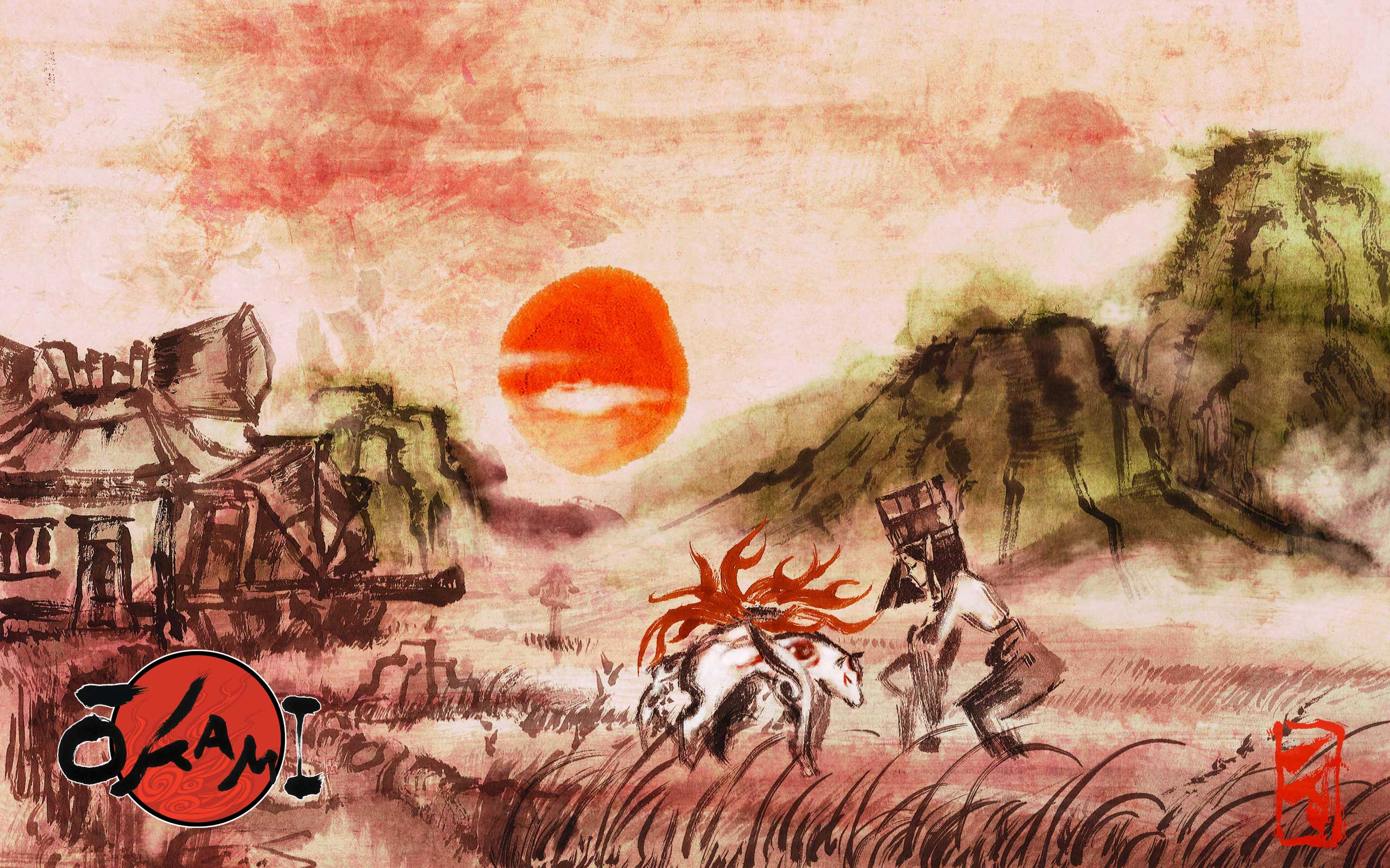 Okami art for Is wallpaper in style
